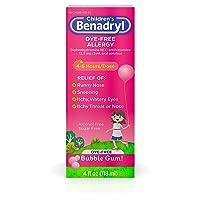 Children's Benadryl Dye-Free Allergy Liquid, Diphenhydramine HCl, Bubble Gum, 4...