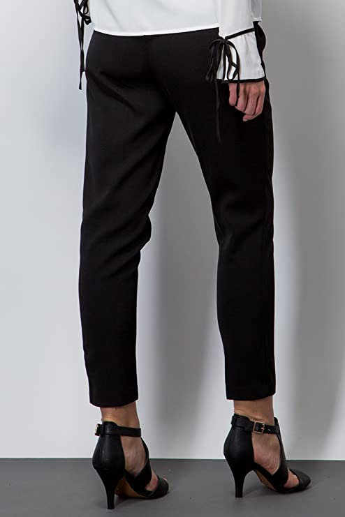 Ladies Twill Peg Trouser Smart Black Work Formal Office Clothing Size 6-16