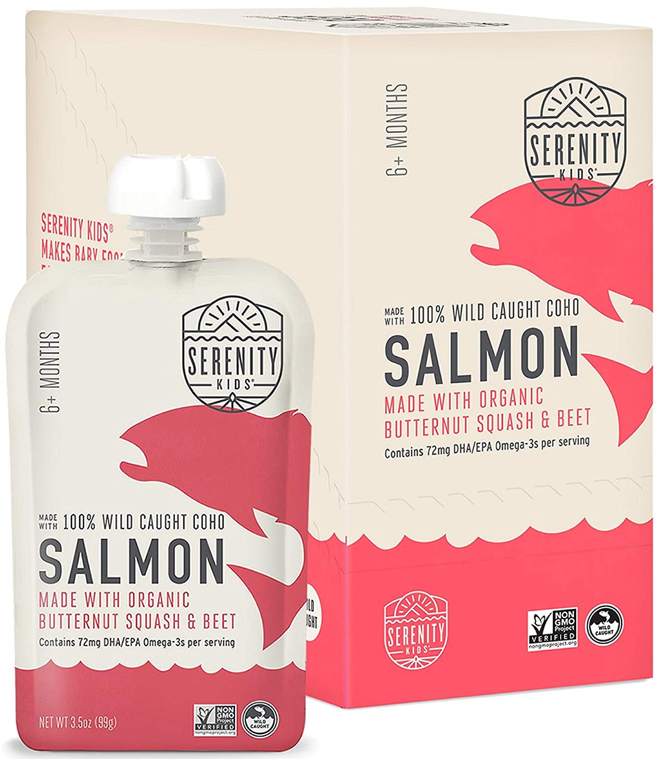 Serenity Kids Baby Food, Wild Caught Coho Salmon with Organic Butternut Squash and Beets, For 6+ Months, 3.5 Ounce Pouch (6 Pack)