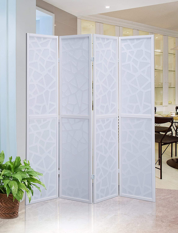 Roundhill Furniture Giyano 4 Panel Screen Room Divider White Amazon Co Uk Kitchen Home