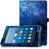 "Famavala Folio Case Cover with Auto Wake/Sleep Feature for 8"" Fire HD 8 Tablet [Compatible with 8th Generation 2018 / 7th Generation 2017 ] 8-Inch Tablet (BlueSky)"