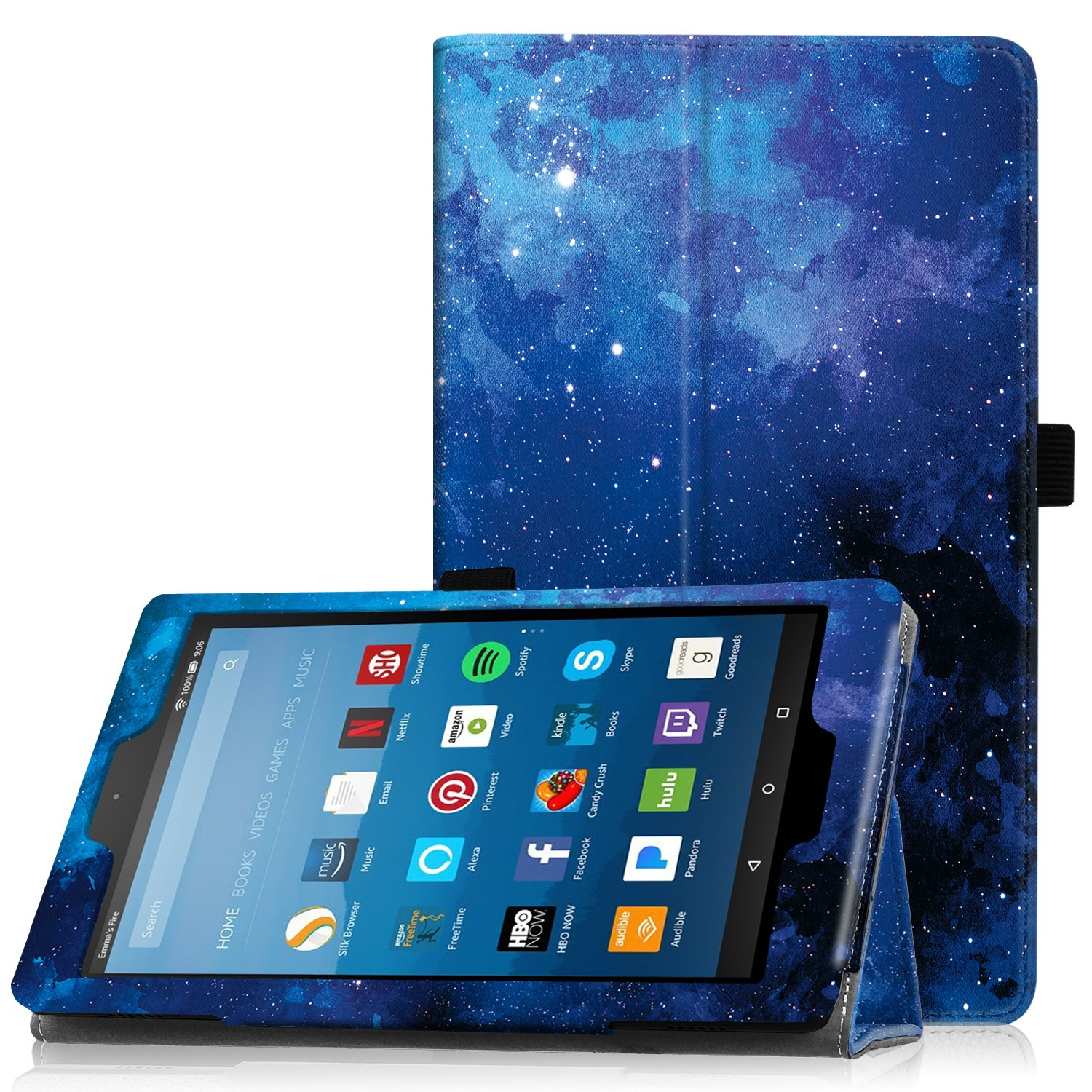 Famavala Folio Case Cover with Auto Wake/Sleep Feature for 8'' Fire HD 8 Tablet [7th Generation 2017/6th Generation 2016] 8-Inch Tablet (BlueSky)
