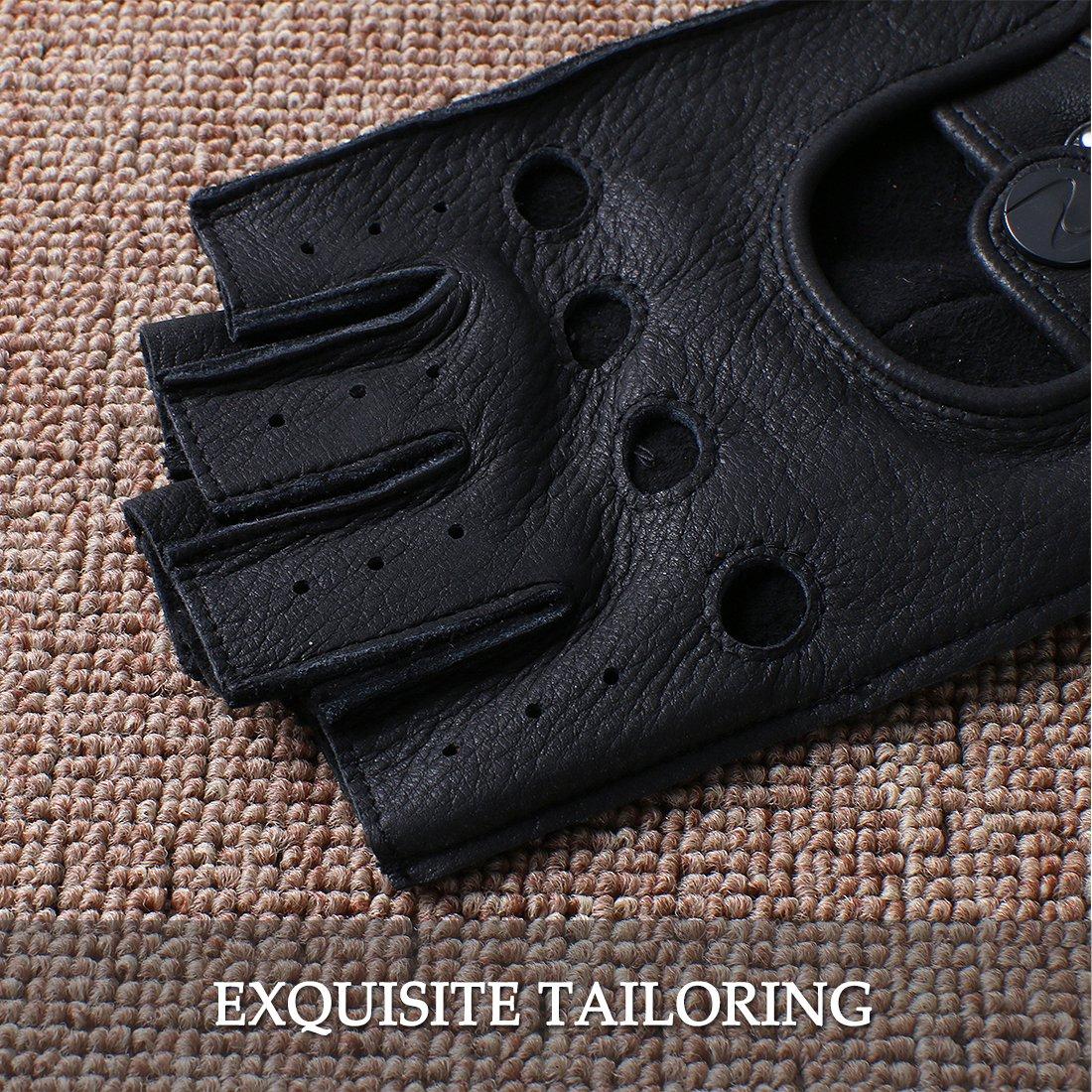 Nappaglo Half Finger Leather Driving Motorcycle Men Deerskin Fingerless Gloves