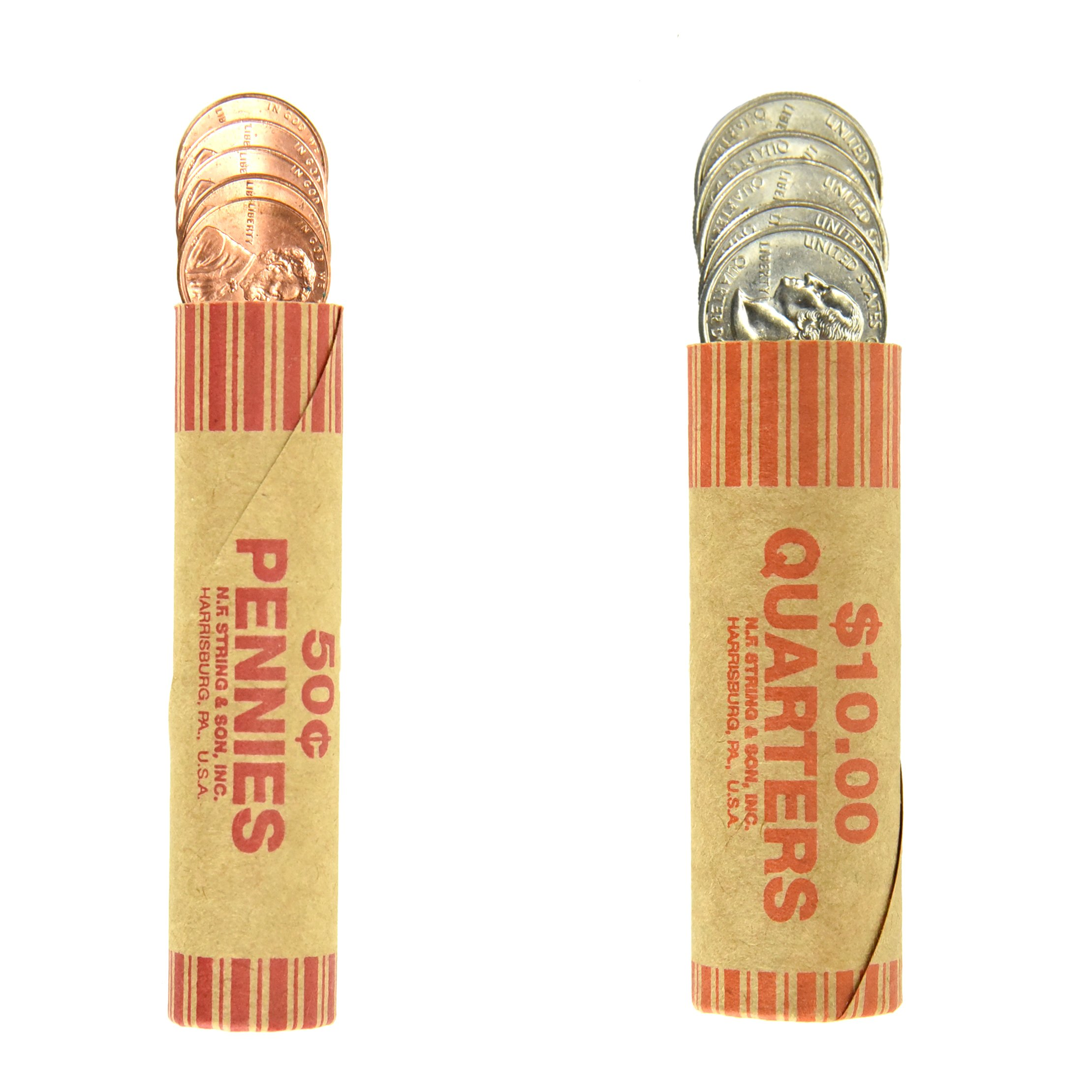 248 Coin Wrappers Made in USA - Set of Preformed Paper Tubes - 124 Quarters and 124 Pennies
