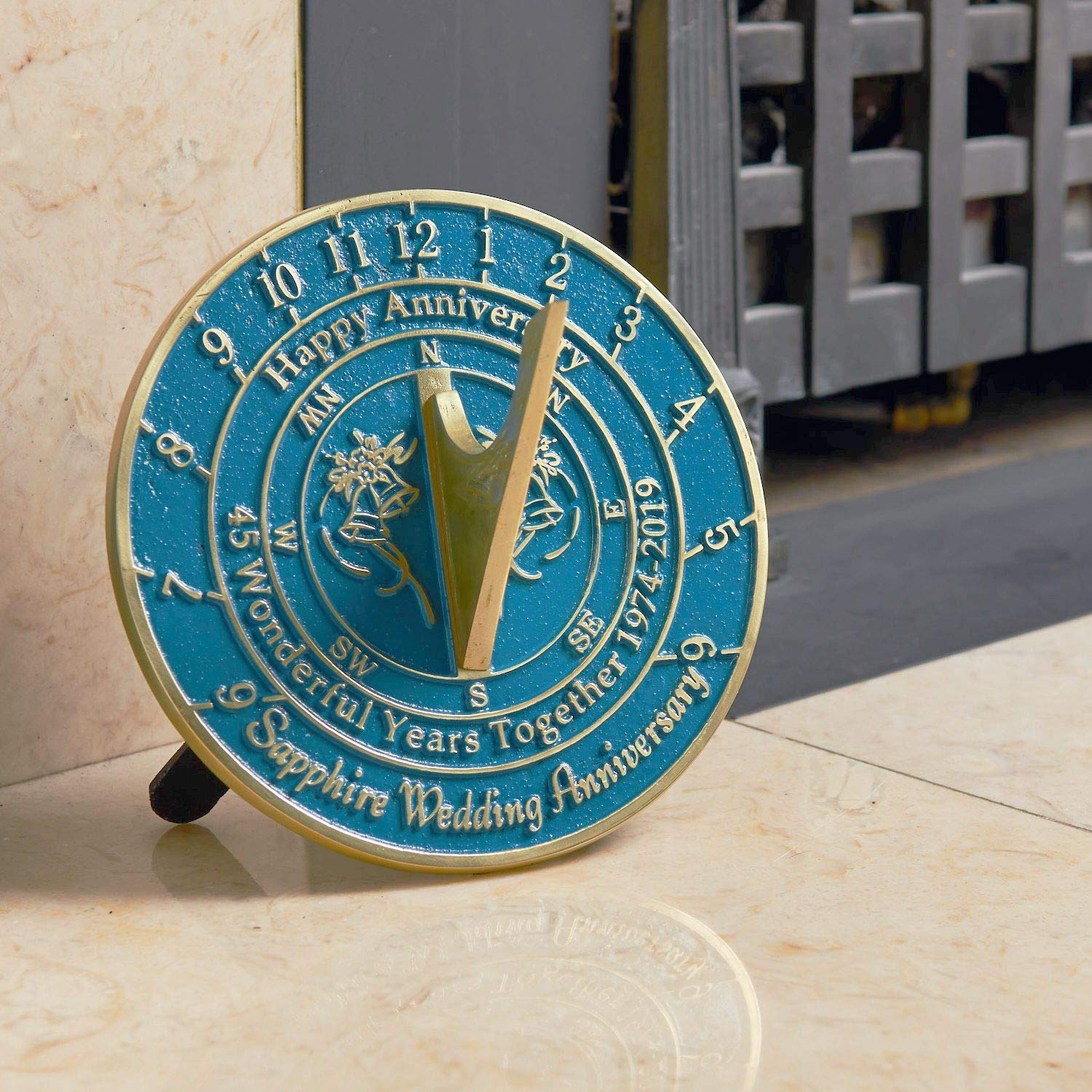 The Metal Foundry 45th Sapphire Wedding Anniversary 2019 Sundial Gift Idea is A Great Present for Him, for Her Or for A Couple to Celebrate 45 Years of Marriage