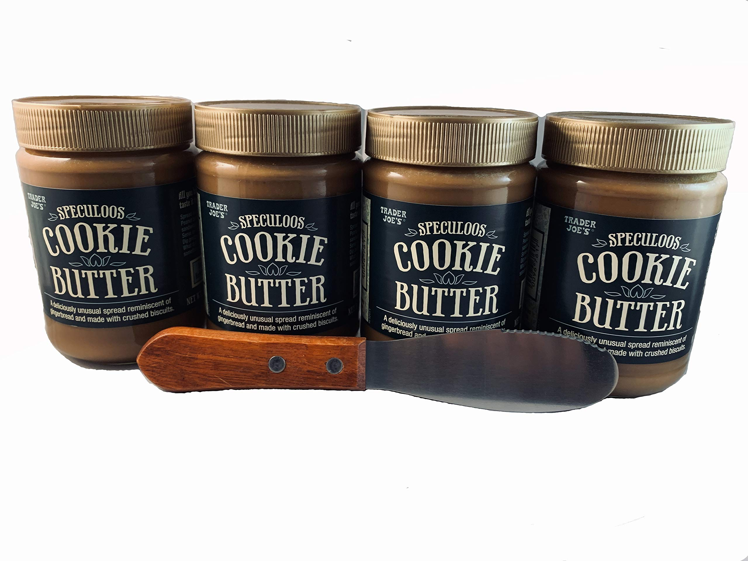 Trader Joes Speculoos Cookie Butter (Pack of 4) and Butter/Cream Cheese Spreading Knife Spreader