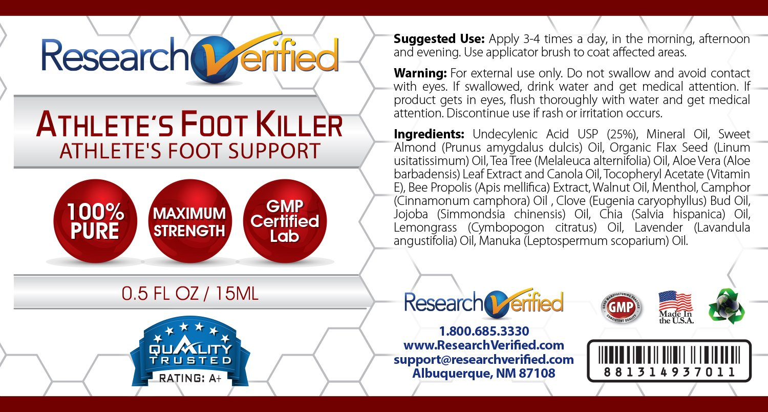 Research Verified Athlete's Foot Killer - 6 Bottles - Top Athlete's Foot Relief - 25% Undecylenic Acid and Tea Tree Oil. Reduce infection duration, frequency and severity. 100% money back guarantee! by Research Verified (Image #3)