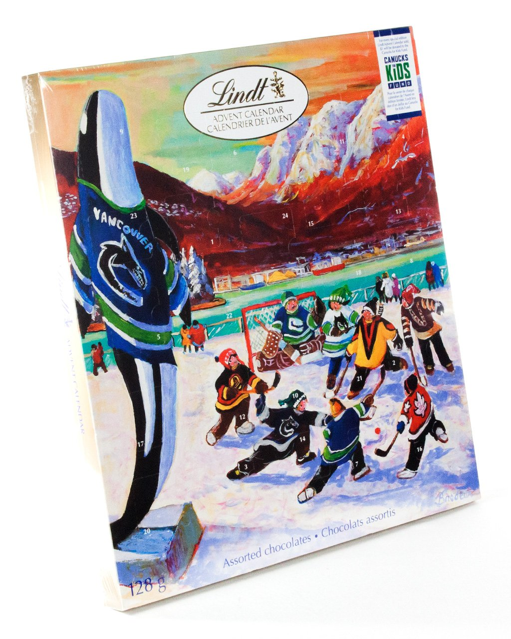 Lindt Chocolate Advent Calendar 128 g Featuring Richard Brodeur Hockey Art Vancouver Canucks Edition