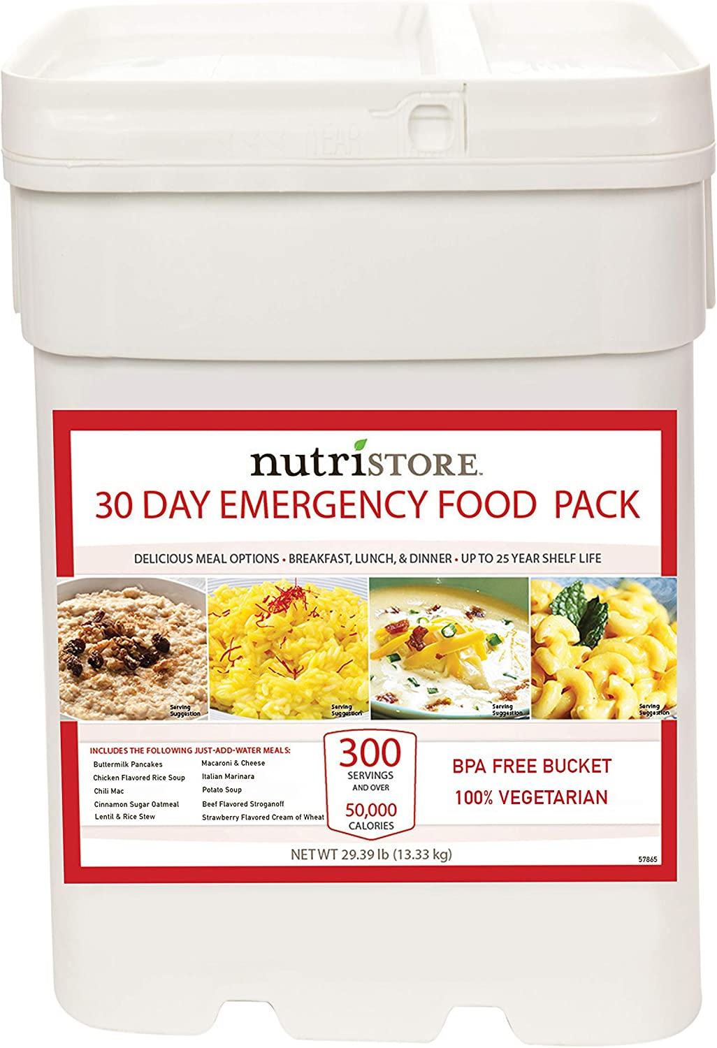 Nutristore 30-Day Emergency Food Supply | 300 Servings | Quality Ready-to-Eat Meals | Preparedness Survival Kit | 25-Year Shelf Life | USA-Made