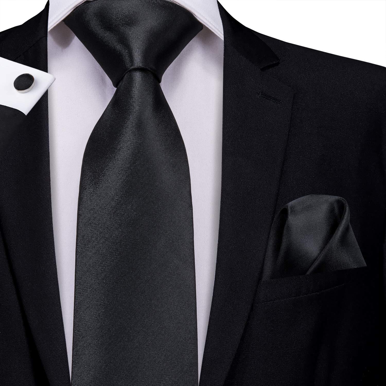 6df0332260c5 Amazon.com: Hi-Tie Men Black Solid Tie Pocket Square Cufflinks Set Pure Color  Necktie Wedding Ties Gift Box: Clothing