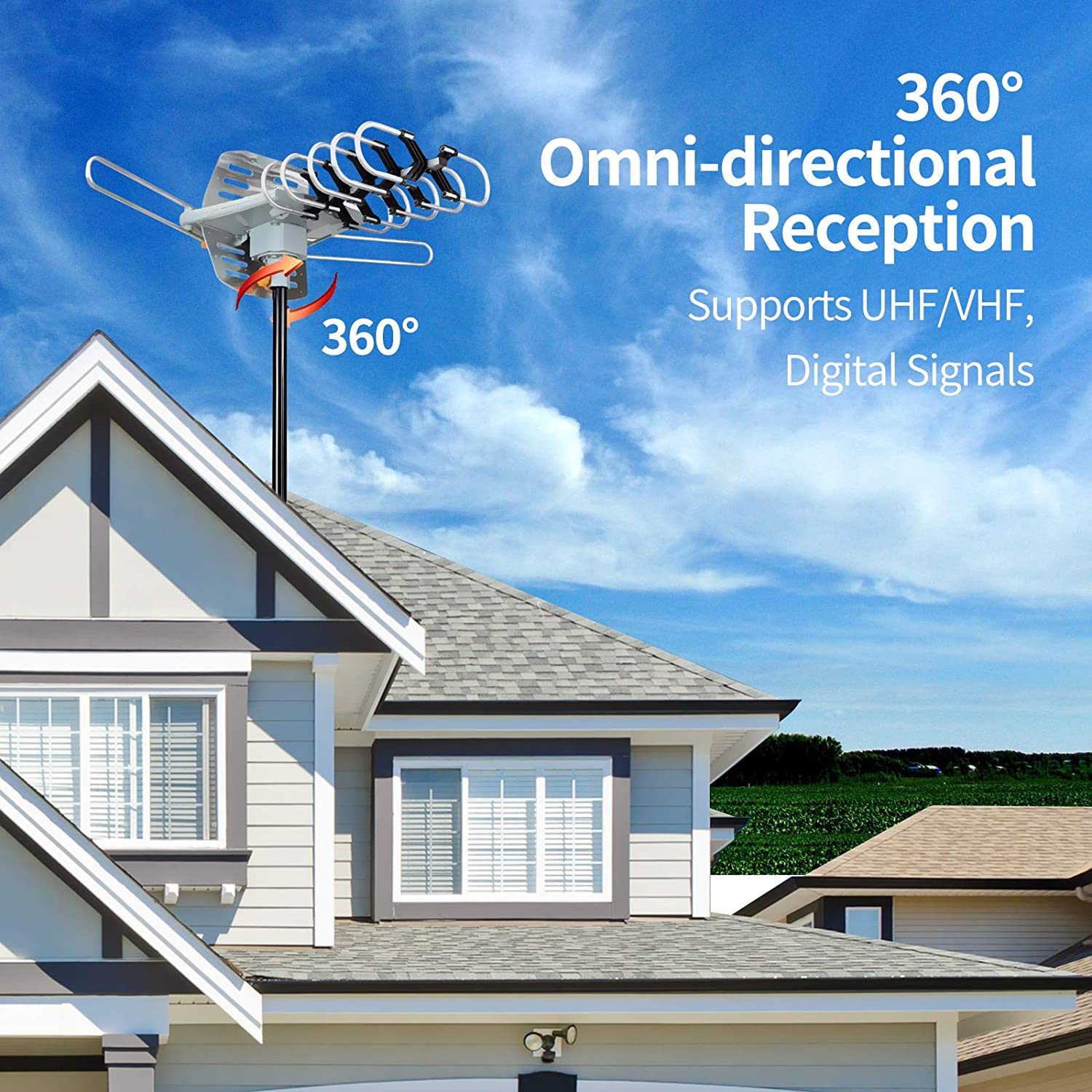 Outdoor Amplified Digital HDTV Antenna Amplified HD TV Antenna for 2 TVs Support UHF//VHF 4K 1080P with Mounting Pole /& 33 ft RG6 Coax Cable 150 Mile Motorized 360 Degree Rotation