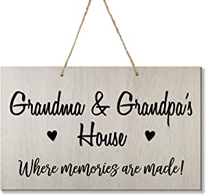 LifeSong Milestones Grandparent Family Name Wall Plaque Sign Grandmother Grandfather Gift Ideas for Home 8 x 12 (Grandma Grandpa White)