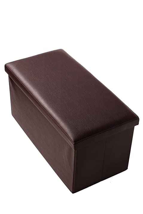 Folding Rectangular Storage Ottoman   Faux Leather Bench, Footrest, Storage  Box   Brown