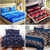RS Home Furnishing Combo Cotton Floral Printed King Size Double 4 Bedsheet with 8 Pillow Covers Multi Colour