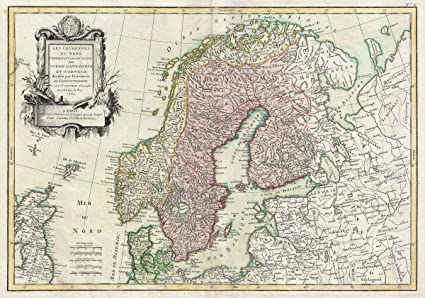photo regarding Scandinavia Map Printable referred to as : Historic 1762 Janvier Map of Scandinavia