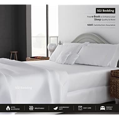 KING SIZE SHEETS LUXURY SOFT 100% EGYPTIAN COTTON - Sheet Set for King Mattress White SOLID 600 Thread Count 15  Deep Pocket # Exotic Bedding Collection