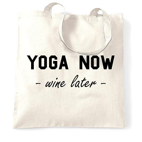 Amazon.com   Novelty Gym Tote Bag Yoga Now, Wine Later Joke ...