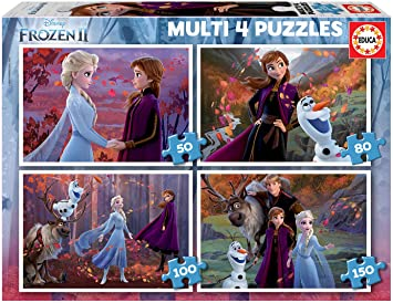 Oferta amazon: Educa- Frozen 2 4 Puzzles, 50+80+100+150 Piezas, Multicolor (18640)