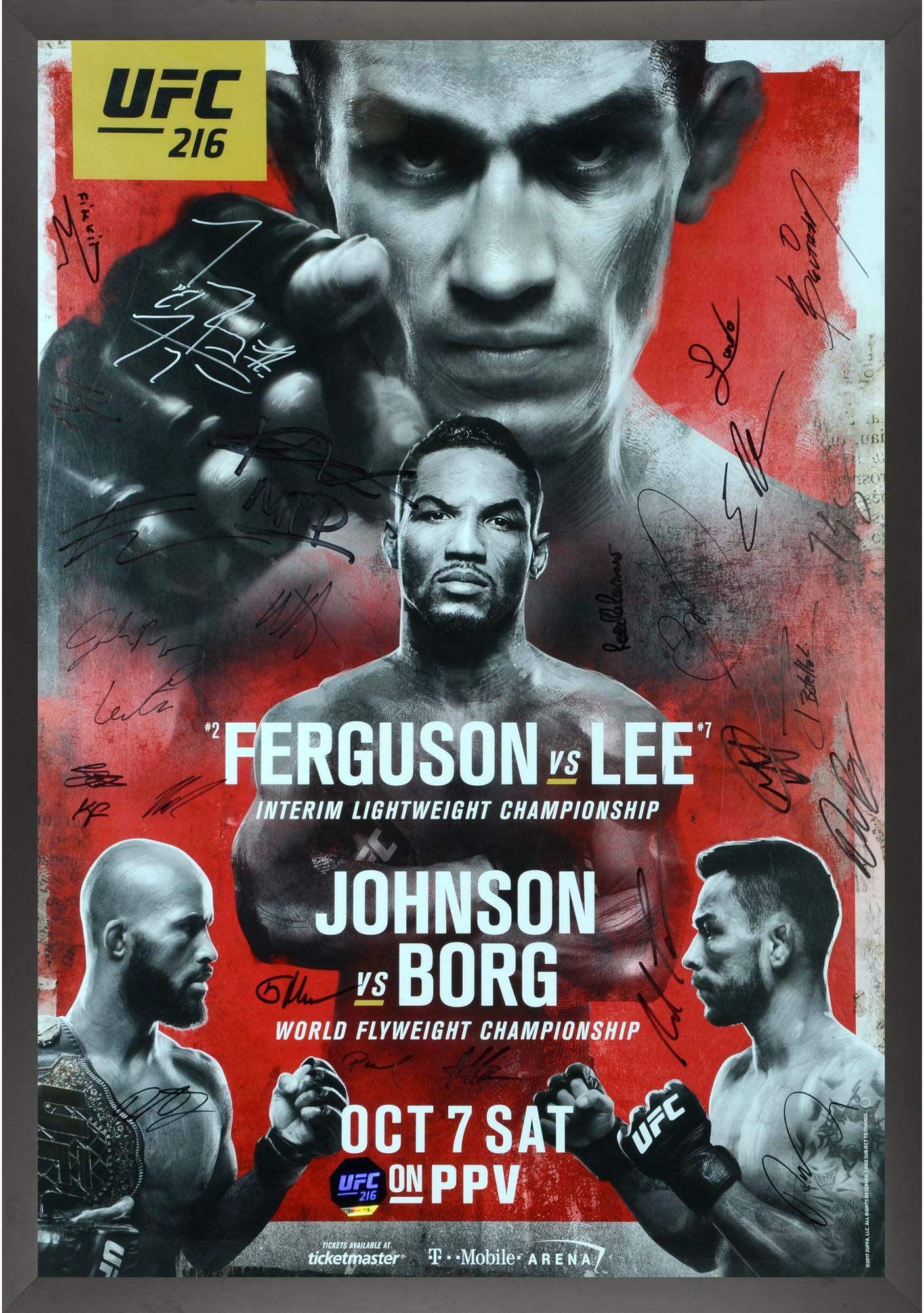 "UFC 216 Ferguson vs. Lee Framed Autographed 27"" x 39"" 22 Signature Fight Poster Fanatics Authentic Certified"