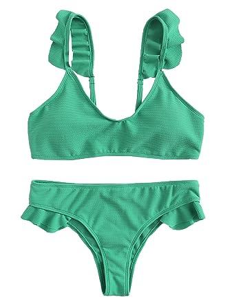 21ad9eb909c75 SOLYHUX Women s Adjustable Straps Padded Ruffle Bikini Beach Swimwear Green  S