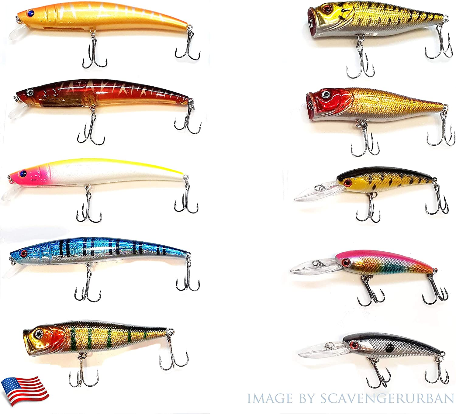 10 Hard Bait Minnow Lure With Treble Hook Life Like Swimbait Fishing Bait 3d Fishing Eyes Topwater Popper Crankbait Vibe Sinking Lure For Bass Trout Walleye Freshwater Sports Outdoors Amazon Com