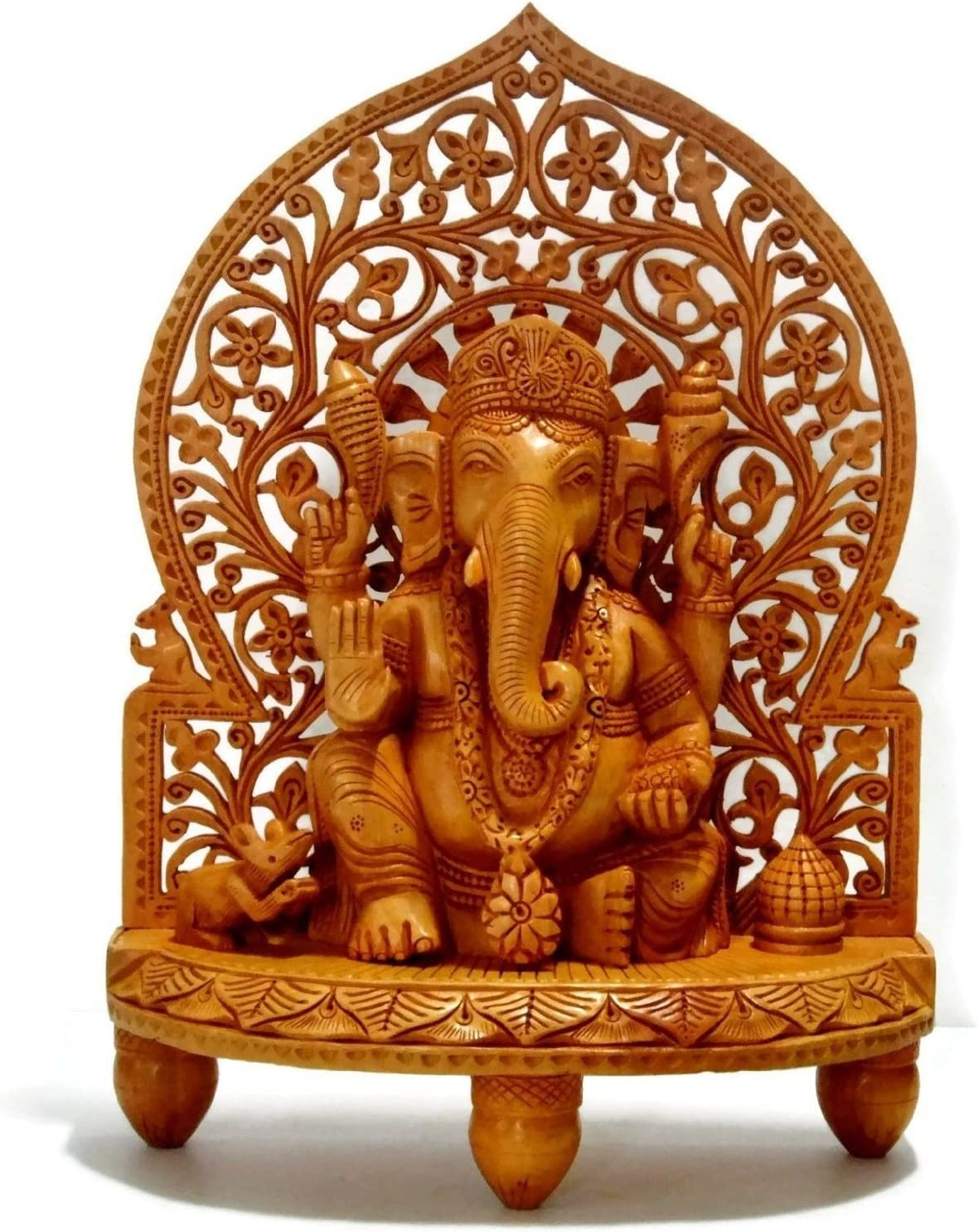 CraftVatika Large Ganesh Ganesha Idol Statue- Wooden Hand Carved Elephant Lord Ganesha Ganpati Temple Sculpture (10)