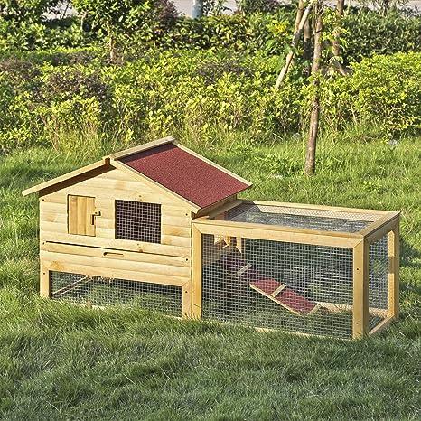 iKayaa - Jaula grande de madera para gallina con diseño de conejo, casa para despedida