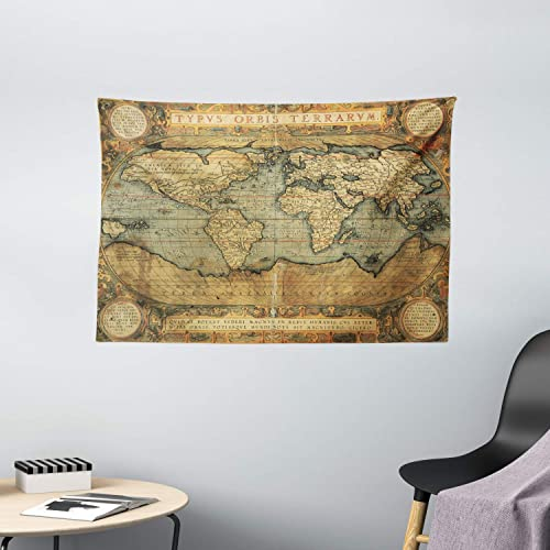 Ambesonne Wanderlust Tapestry, 16th Century Map of The World History Adventure Civilization, Wide Wall Hanging for Bedroom Living Room Dorm, 60 X 40 , Green Brown