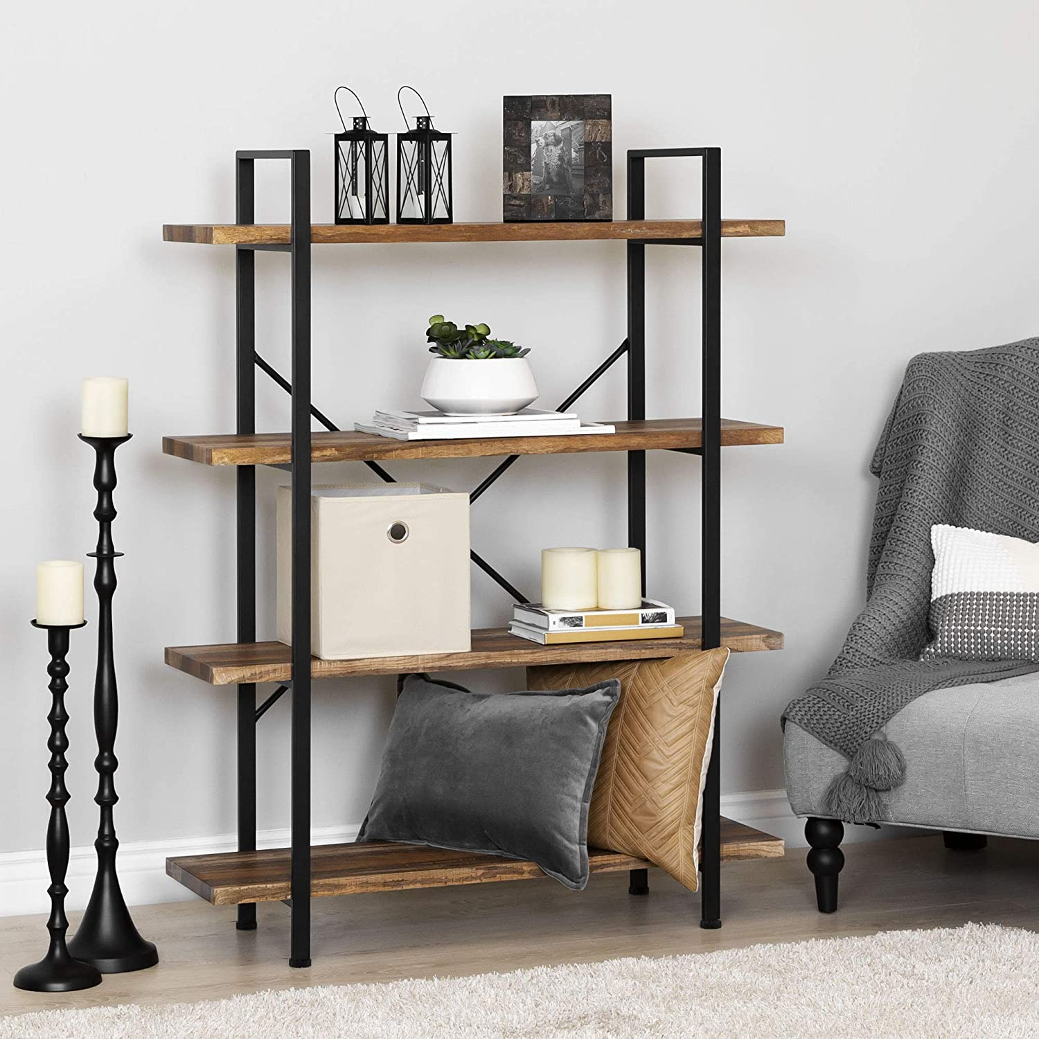 Best Choice Products 4-Shelf Industrial Open Bookshelf Organizer Furniture for Living Room, Office w Wood Shelves, Metal Frame – Brown Black