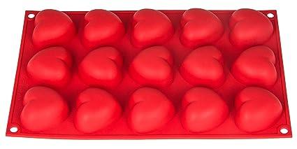 Silicona forma con corazones, 15 de corazones, molde para magdalenas, brownies, Cupcake
