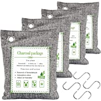 FUNFLOWERS 4 Pack Bamboo Charcoal Air Purifying Bag with Hooks, Kid & Pet Friendly, Activated Charcoal Bags Odor…