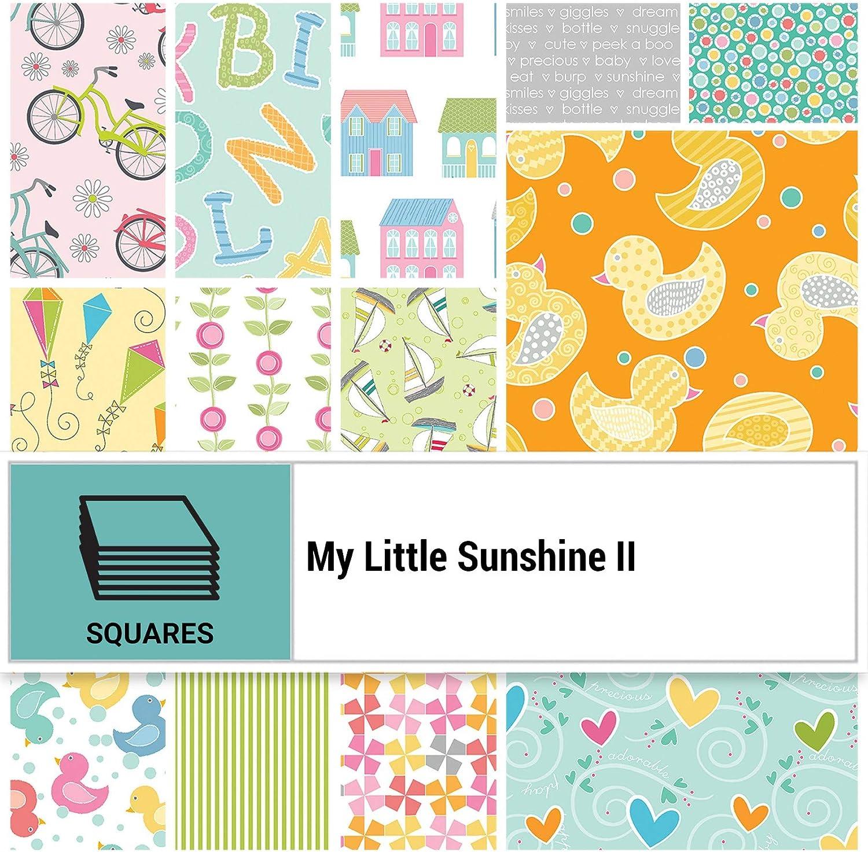 Benartex My Little Sunshine II 10-inch Precut Squares Cotton Fabric Quilting Assortment Layer Cake Cherry Guidry MLY10PK