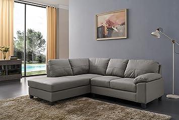 Awesome Sc Furniture Ltd Grey High Grade Genuine Leather Corner Sofa Boston Left Hand Facing Interior Design Ideas Gentotthenellocom