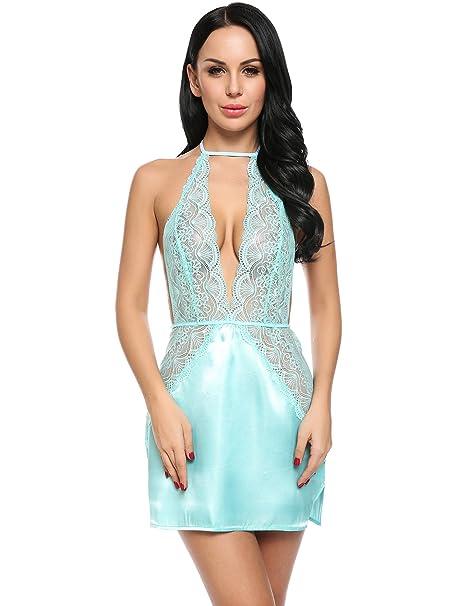 ee26f38f74aa3 Avidlove Women's Lace Babydoll Lingerie Sexy Halter Satin Chemise Sleepwear  Mini Dress