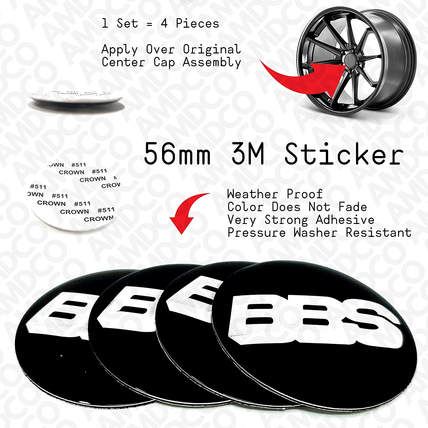 56MM BLACK AMD pack of 4 56MM BLACK Emblem Badge Stickers Decals with Strong 3M Includes instructions MEASURE Before Purchase Fitment Top Quality fit For AFTERMARKET WHEELS BBS etc