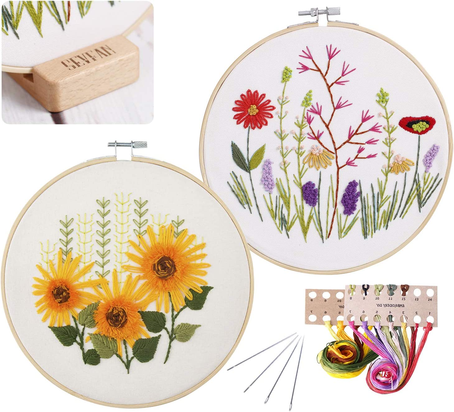 2 sets Embroidery Kits, Full Range of Embroidery Starter Kit with Pattern DIY stitch Kit for Beginner Including Cloth, Hoop, Threads, Tools Kit and one wood stand holder