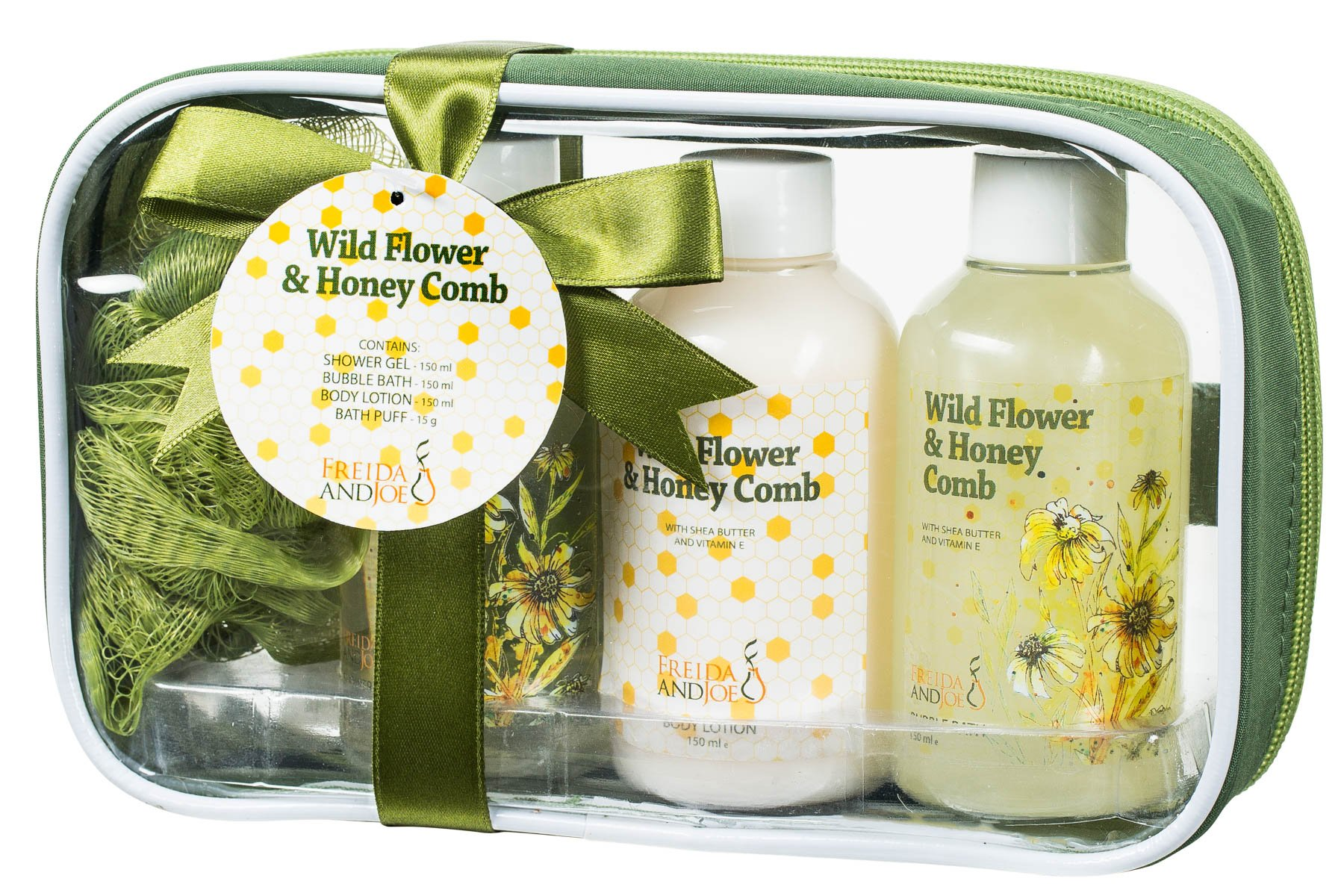 Freida and Joe Relaxing Wild Flower & Honey Comb Scent Bath, Body, Beauty, Spa, Shower, Travel Bag Gift Set Kit Perfect for Women Skin Care, Contains Shower Gel, Bubble Bath, Body Lotion, Bath Puff