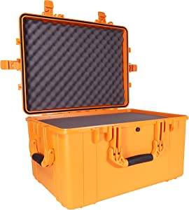 """Condition 1 25"""" XL Waterproof Protective Hard Case with Foam, Orange - 25"""" x 20"""" x 14"""" #024 Watertight IP67 Rated Dust Proof and Shock Proof TSA Approved Portable Storage Trunk Carrier"""