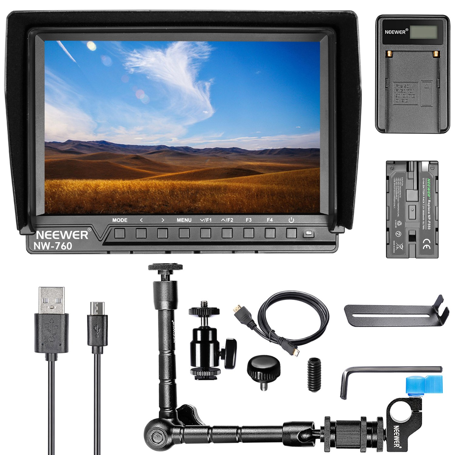Neewer NW-760 7 inches Full HD 1920x1200 IPS Screen Camera Field Monitor Kit for Sony Canon Nikon Olympus Pentax Panasonic,Include NW-760 Monitor,Magic Arm,USB Battery Charger,F550 Replacement Battery by Neewer