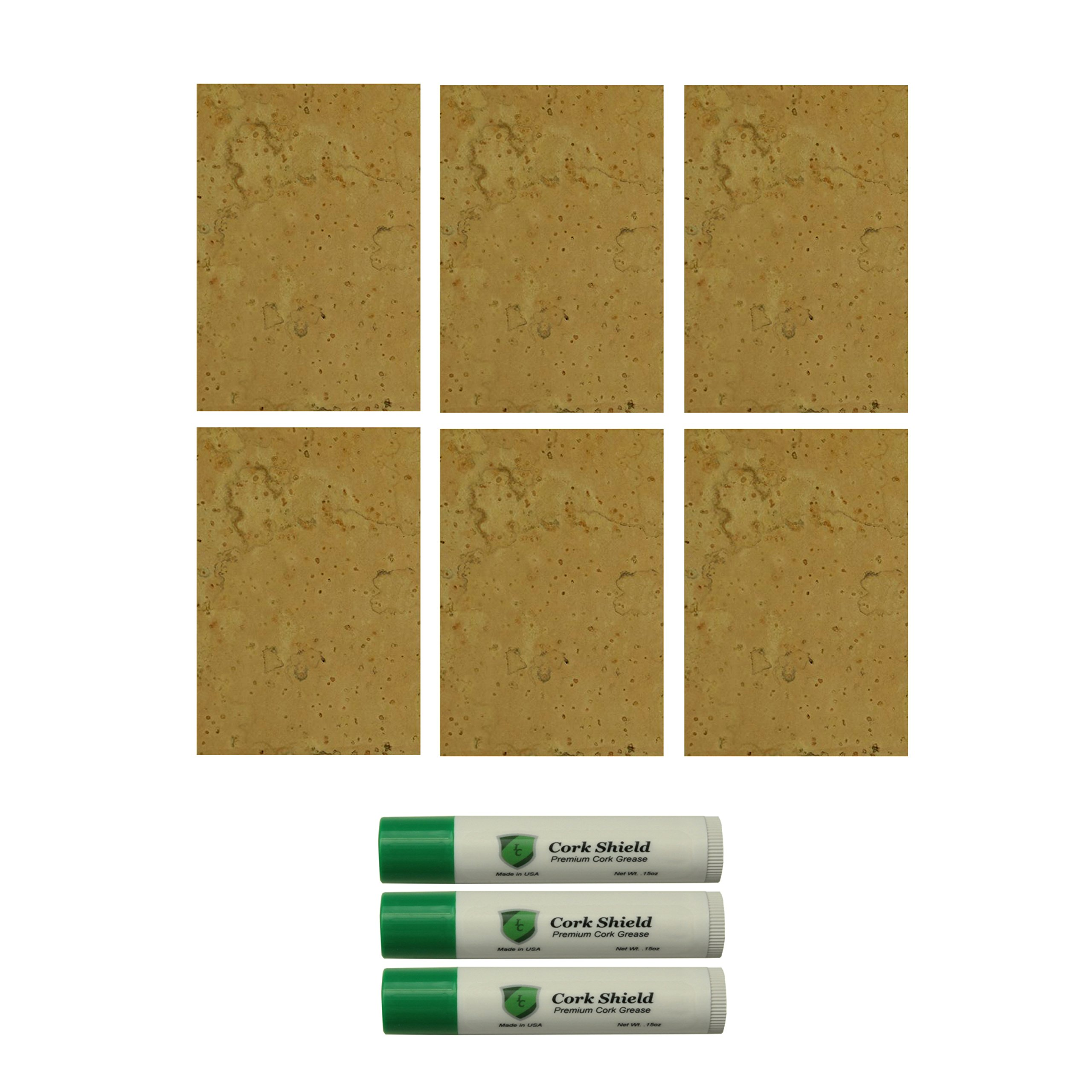 4'' x 3'' Natural Cork Sheet Assortment with 3 Pack of Cork Grease