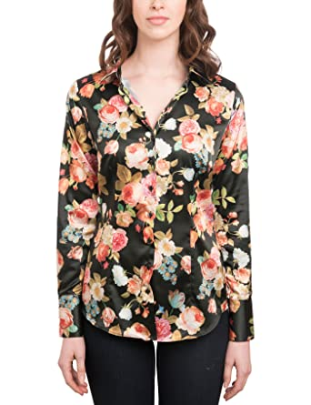 0d4f4b09d7780d HAWES & CURTIS Womens Black & Green Fitted Floral Satin Shirt - Single Cuff,  Black