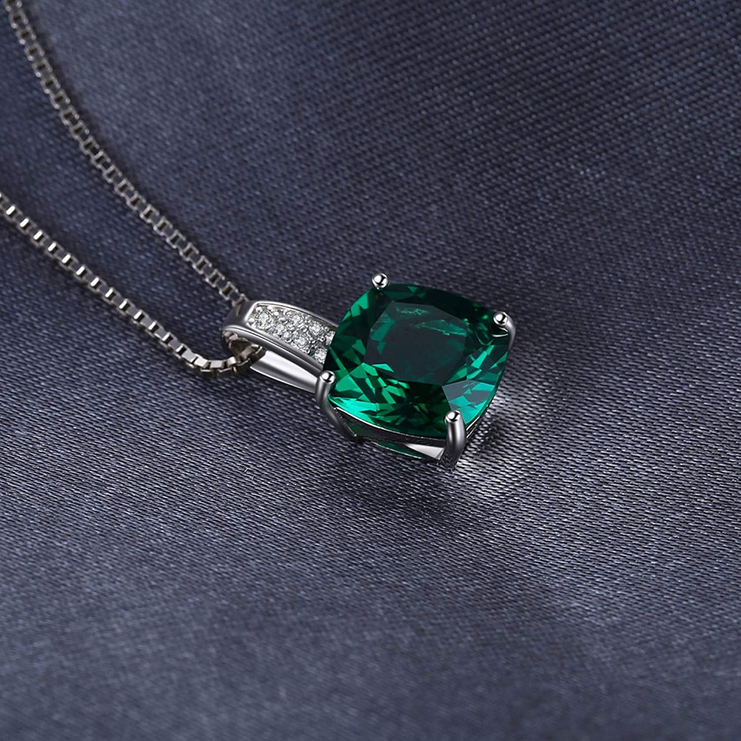 Pendants Necklaces by CS-DB Cushion 3.4ct Green Emerald Solitaire Chain Fashion Silver Womens Jewelry