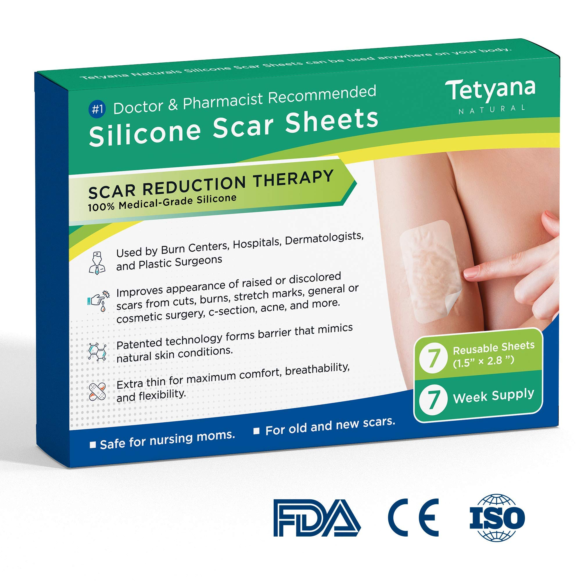 Medical Grade Silicone Scar Removal Sheets by Tatyana Naturals [7Pcs] Reusable, High-Performance Scar Cure for Stretch Marks, Surgery Scars, C-Section Scars, Acne Scars, Cuts and Burns by Tetyana naturals