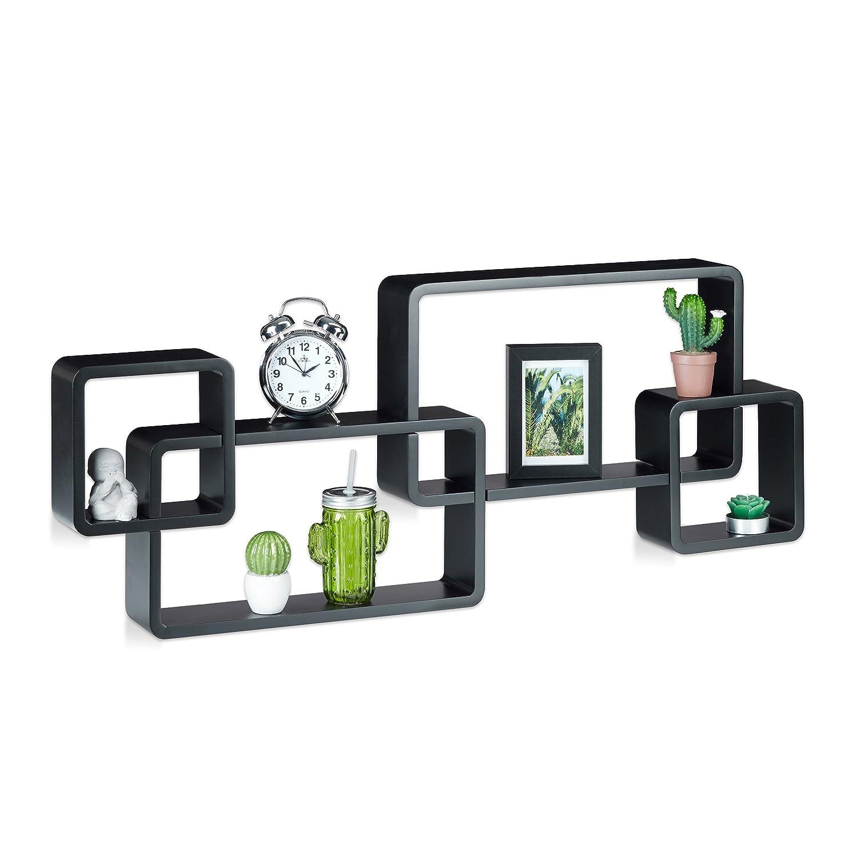 Relaxdays 10021901_46 Mensole da Muro Cube, 4 Cubi da Parete, Design Moderno, Legno MDF, HxLxP: 42x104x10 cm, Nero