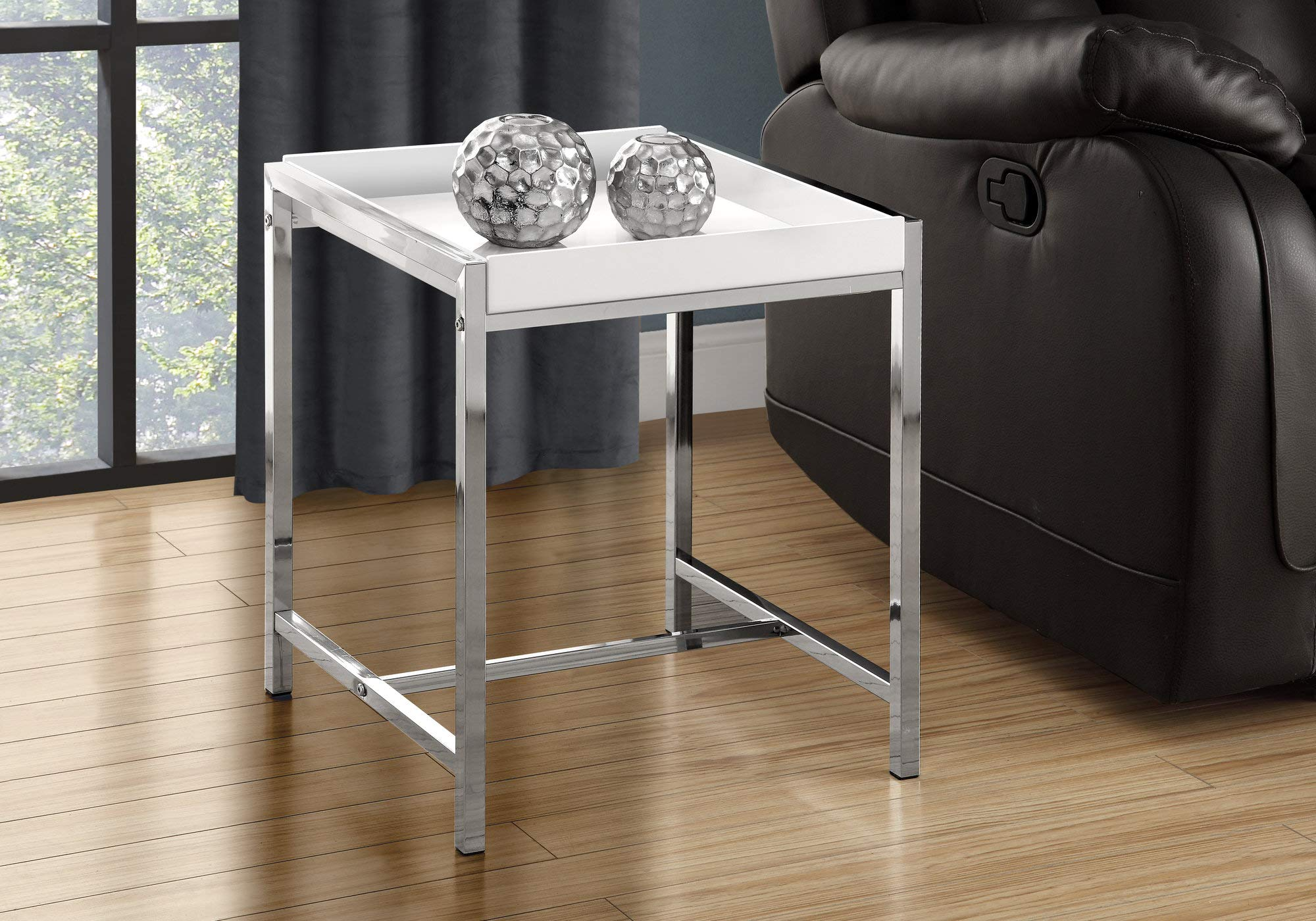 Monarch I 3050 Metal Accent Table, White Acrylic/Chrome by Monarch Specialties (Image #5)