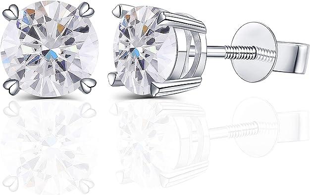 14K Yellow Gold 2Ct Created Diamond Heart Stud Screw Back Earrings LOVE