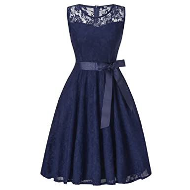HENCY Damen Spitzen Rockabilly Kleid Festlich Partykleid ...