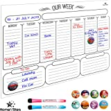 Weekly Magnetic Dry Erase Board Calendar For Fridge Stain Resistant Technology Organizer Planner White 40 x 30 cm Bonus 10 Magnetic Icons and 2 Fine Point Markers
