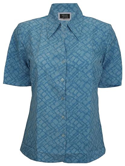 Simon Abierto Blusa de Camiseta Deportiva de Manga Corta Cuello Azul