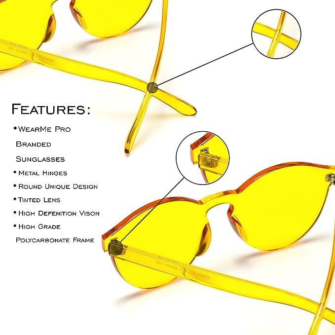 890edb16b5 Amazon.com  WearMe Pro - Colorful One Piece Transparent Round Super Retro  Sunglasses  Clothing